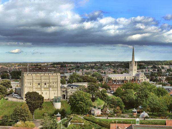 Norwich cathedral overview of the city in the daylight.